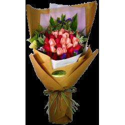 Three Dozen Mixed Colors Roses Bouquet