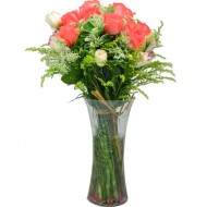 One Dozen Pink Color Roses with Fillers in Vase