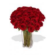 38 Rose Arrangement in Crystal Vase