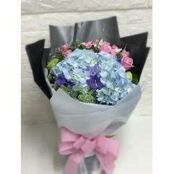 Blue Hygrangea with One Dozen Maria Pink Rose Bouquet